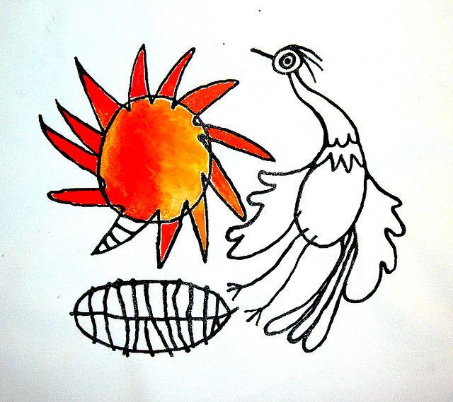 Sole con uccello
