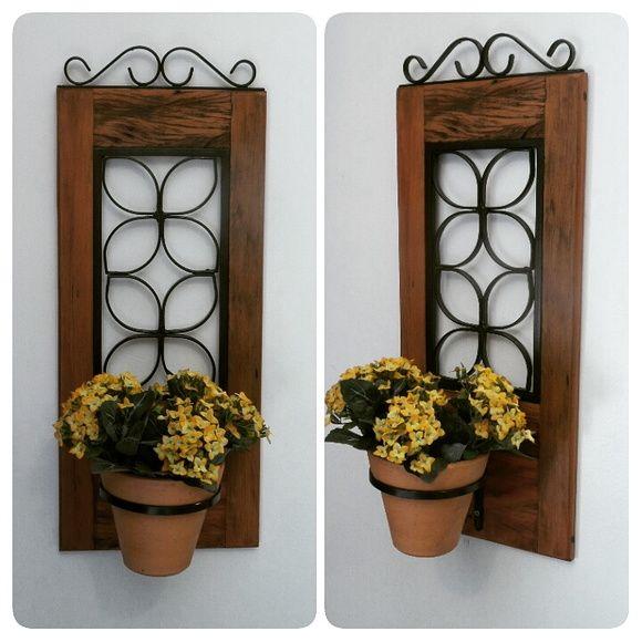 Armario Escritorio ~ Porta planta madeira e ferro Madeira
