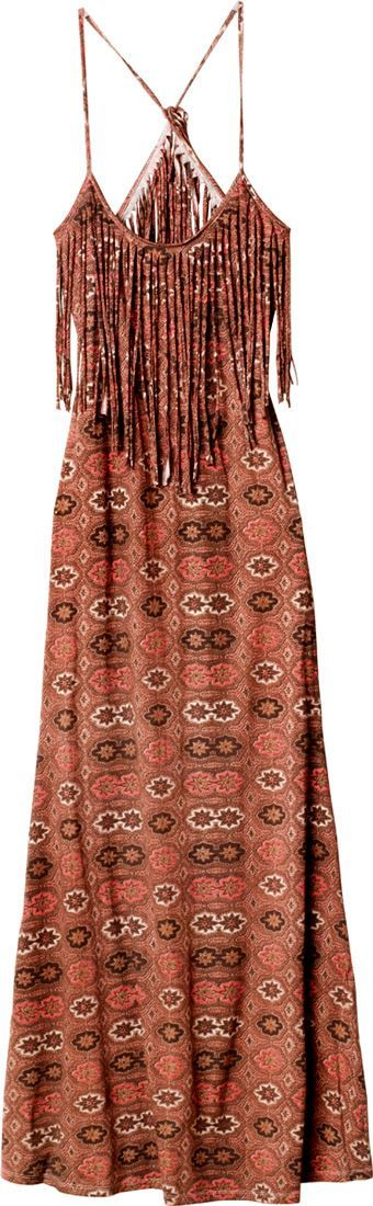I will find this dress and buy it. So pretty.  From a full skirt (like the green one) to a midi dress.  fringe is great, could do heavy lace top - bodice/yoke - and small small sleeves or wide strap, round neck.  Also could do tanky top then same favric, or coordinating sheer for over tunic or even short flair hem top.