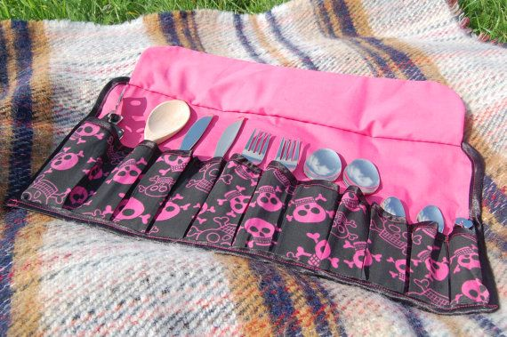 Pink Skulls Camping Cutlery Roll.  This fun fabric has bright pink skull and crossbones on a black background, complemented by a bright pink