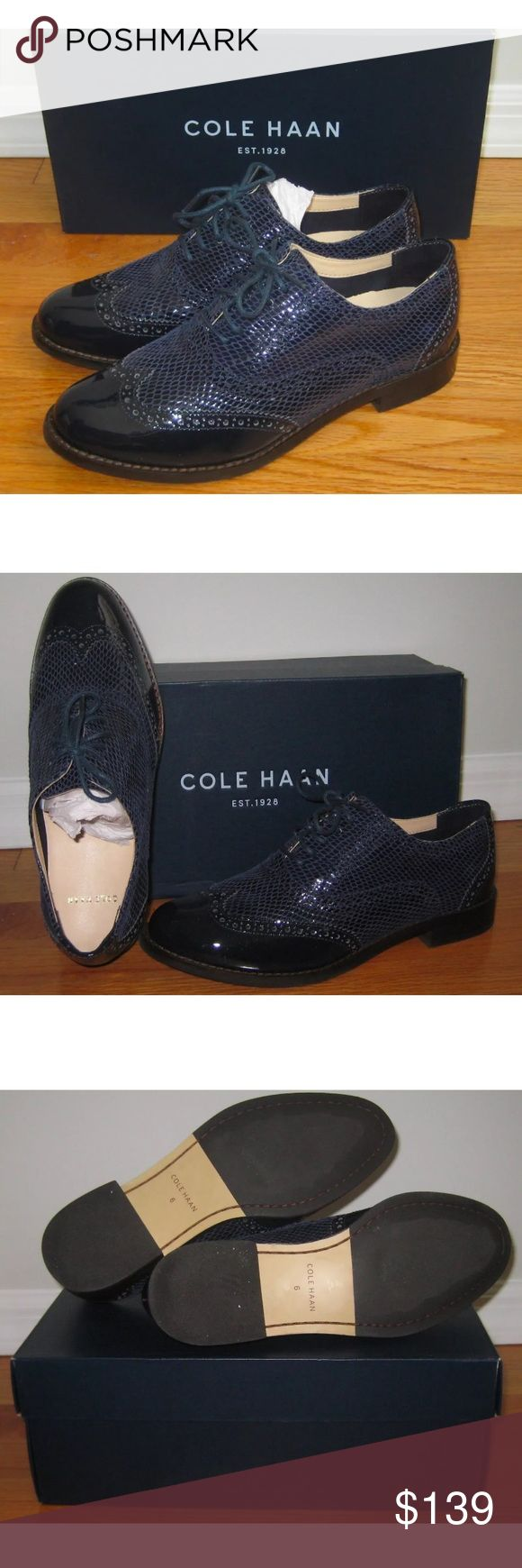 Cole Haan Skyler Oxfords II Snakeskin Patent 6 COLE HAAN Oxfords  Size 6 U.S.  Blue glossy patent leather  Softened, snakeskin-print quarter and vamp  Brogue-trimmed heel and wingtip toe  Cushioned, leather-lined footbed  Traction outsole  Style No. D42811  Retail Price: $238.00  Brand new in original box. I bought these before I became pregnant and didn't have a chance to wear them. Unfortunately my foot grew and I no longer fit into them :-( If you're a size 6 please check my other shoe…
