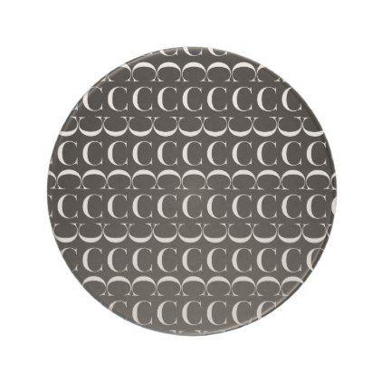 Monogram Initial Pattern Letter C in White Sandstone Coaster - pattern sample design template diy cyo customize