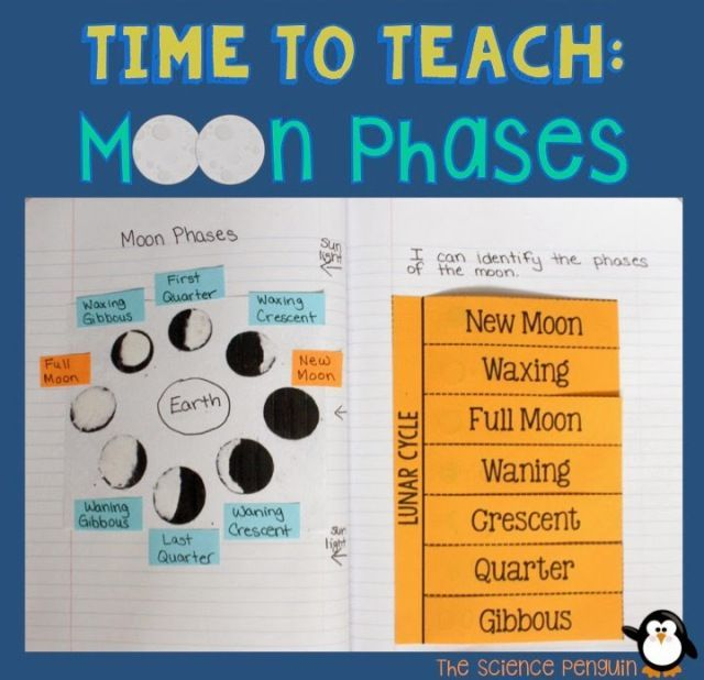 7 Ideas to Teach Students about Moon Phases lunar cycle vocabulary