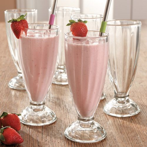 Libbey Fountain Shoppe Classic Soda Set, 12 ounce Original, tall clear soda glasses with pedestal bases serve milkshakes, floats and smoothies in authentic restaurant style! $17.95