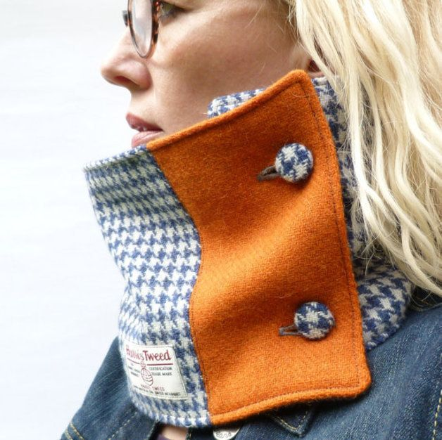 Colour Block Harris Tweed Neckwarmer Scarf