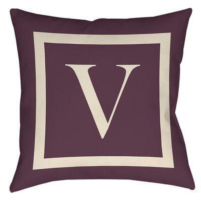"Red Barrel Studio Lansdowne Outdoor Pillow Cover Size: 20"" H x 20"" W x 5"" D, Color: Eggplant, Letter: V"