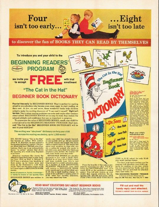 """1965 DR. SEUSS BEGINNER BOOK DICTIONARY vintage magazine advertisement """"fun of books"""" ~ To introduce you and your child to the Beginning Readers' Program  -  """"The Cat in the Hat"""" Beginner Book Dictionary ~"""