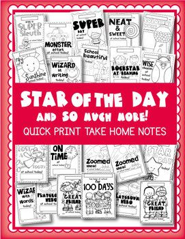 Take Home Notes / Awards - Star of the Day and So Much More$ - Awesome for Back to School