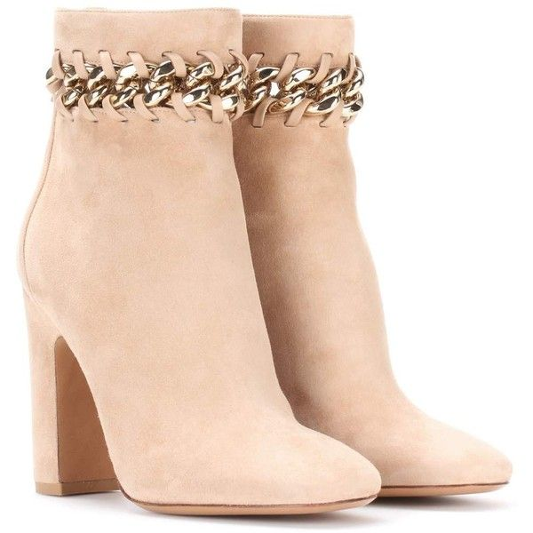 Valentino Valentino Garavani Suede Ankle Boots ($1,440) ❤ liked on Polyvore featuring shoes, boots, ankle booties, beige, suede ankle bootie, suede booties, short boots, suede ankle booties and beige ankle booties