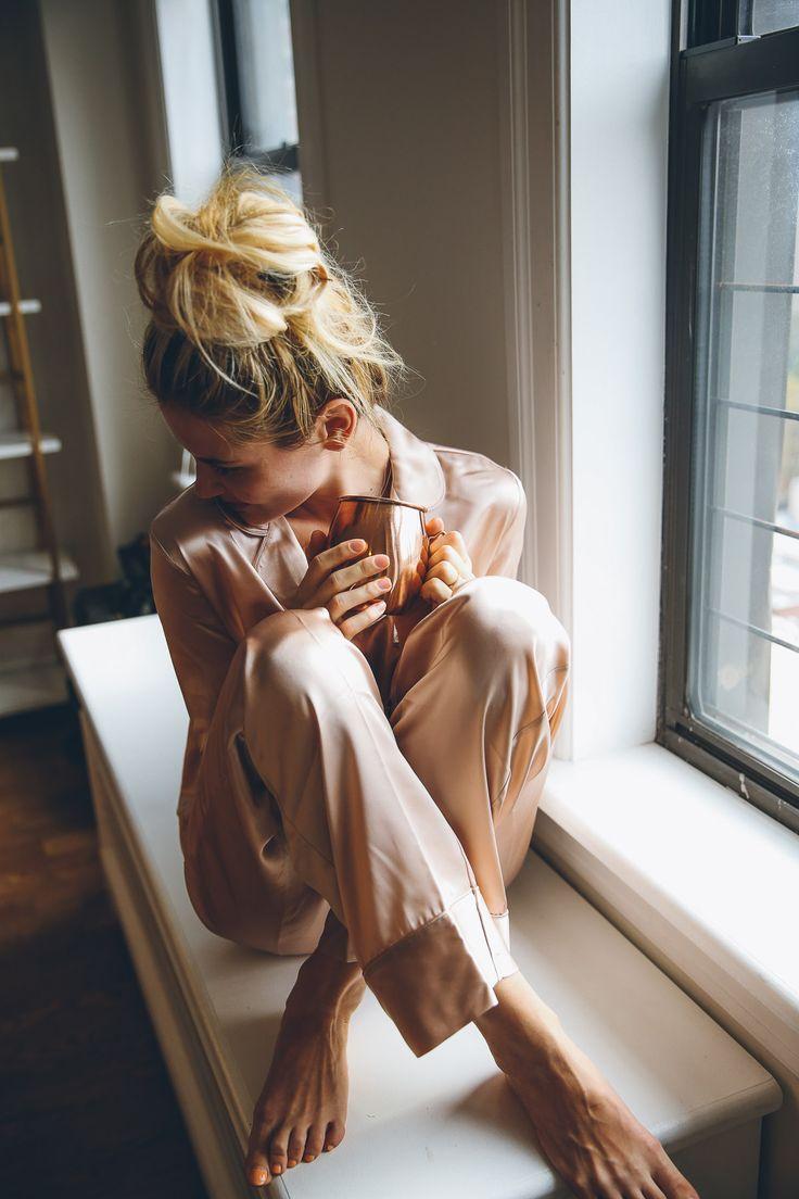Mornings in silky pajamas