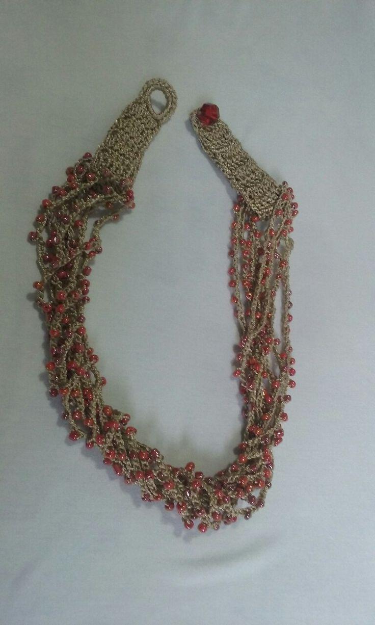 Crochet beaded necklace by Celina.