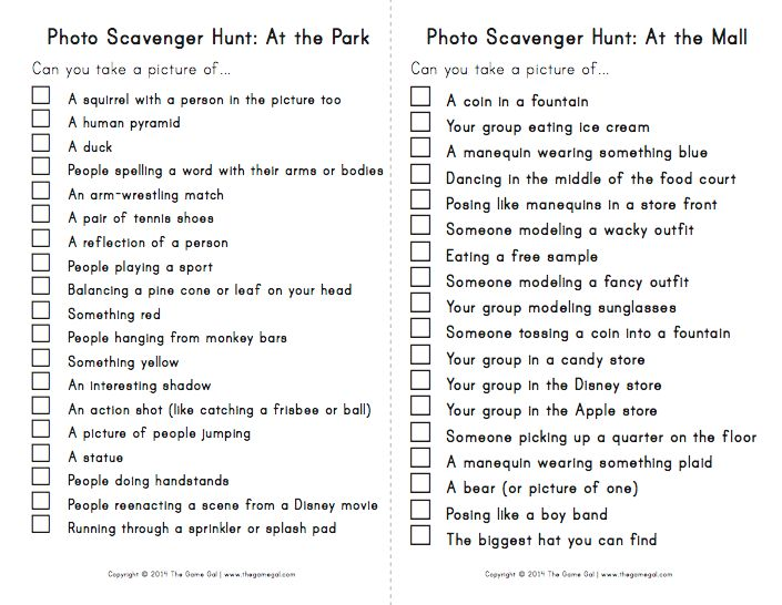 Photo scavenger hunt list                                                                                                                                                     More
