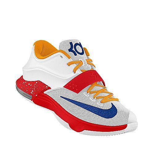 Schuhe Nike Kevin Durant KD 7 VII Patterns WhiteBlack Metallisch Gold Einzigartig Designed