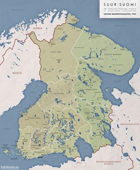 Suur-Suomen kartta, sen maakunnat, kaupungit, rataverkko ja sotavoimien sijoituspaikat.