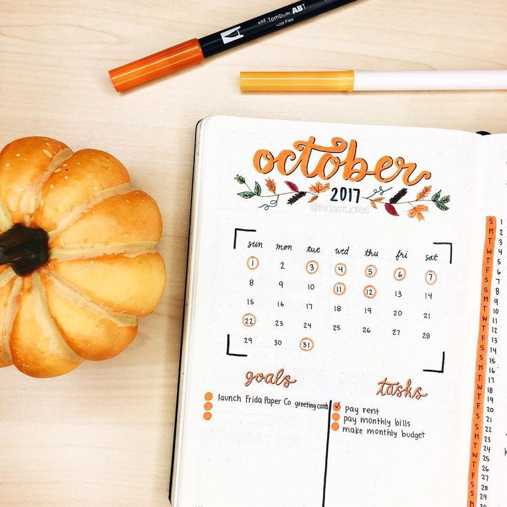 "2,067 Gostos, 40 Comentários - Frida ♡ (@fridastudies) no Instagram: ""As promised, here is my October monthly spread!  Fall is my favorite season so this was really…"""