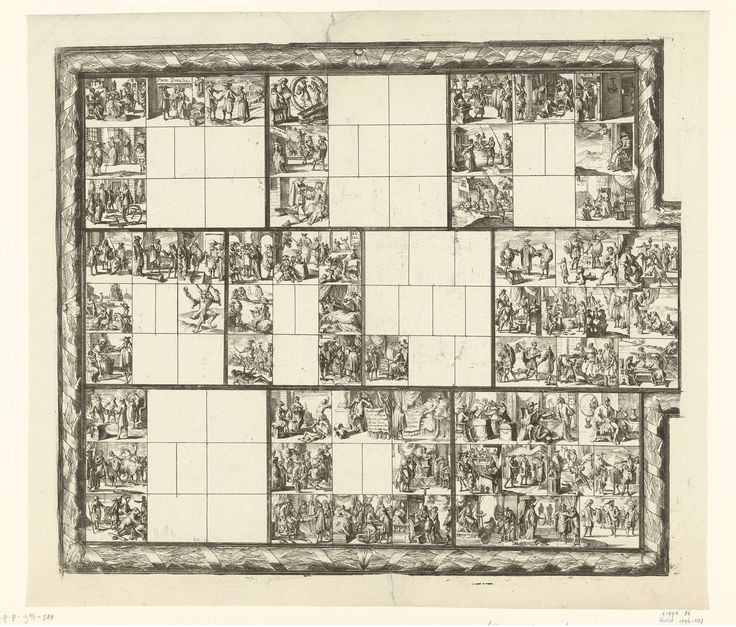 Romeyn de Hooghe | Blad met tientallen kleine voorstellingen van juridische aard (illustraties voor 'Ars magna et admirabilis [...] Pandectarum tituli [...] ope figurarum emblematicarum'?), Romeyn de Hooghe, 1690 - 1695 | Rechthoek met uitstulping aan de rechterzijde, omgeven door ornamentrand, onderverdeeld in tien vlakken, die zelf weer onderverdeeld zijn in tien kleine vlakjes. Veertig van die kleine vakjes zijn leeg gelaten, zestig zijn gevuld met kleine voorstellingen van juridische…