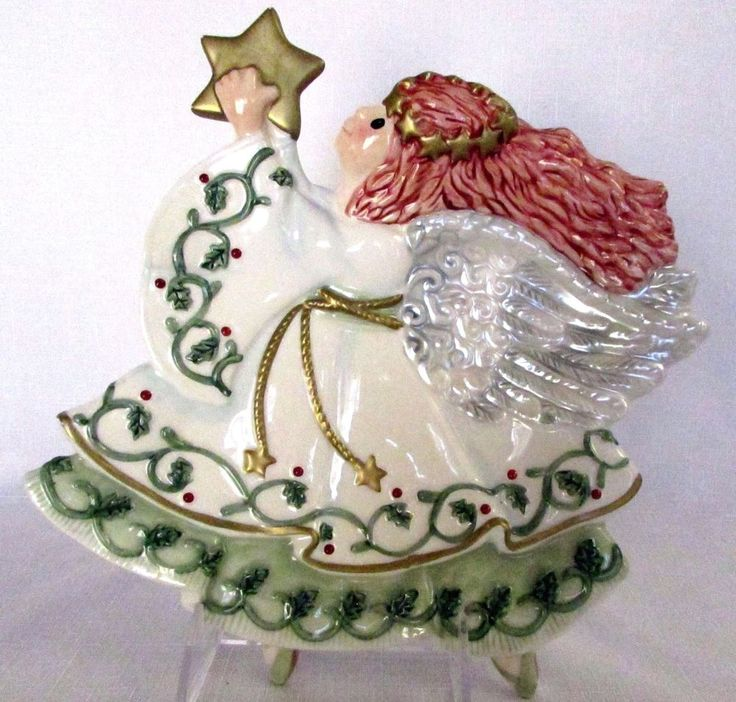 Fitz floyd moonbeams angel christmas canape plate for Fitz and floyd canape plate