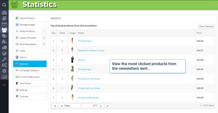 Statistics  View the most clicked products from the newsletters sent.