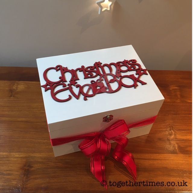 White wooden Christmas Eve Box with red glitter topper - make every child or adult's Christmas wishes come true!