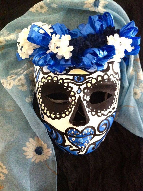 day of the dead halloween sugar skull mask veiled by suzilinden