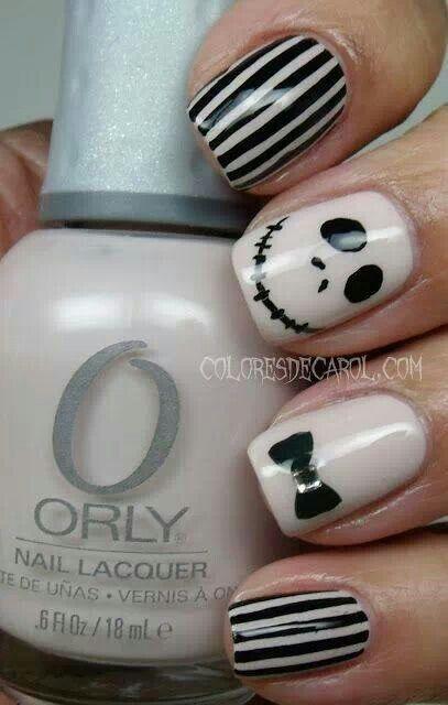 Jack Skellington Halloween nails