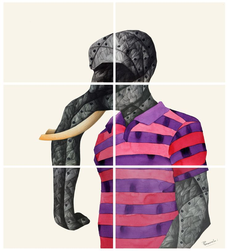 'E' for Elephant by Phaneendra Nath Chaturvedi Pencil & Water Color on Archival Paper, 30 X 33inc., Work in 6 units (each unit 11 X 15 inc.), 2011 — in Gurgaon.
