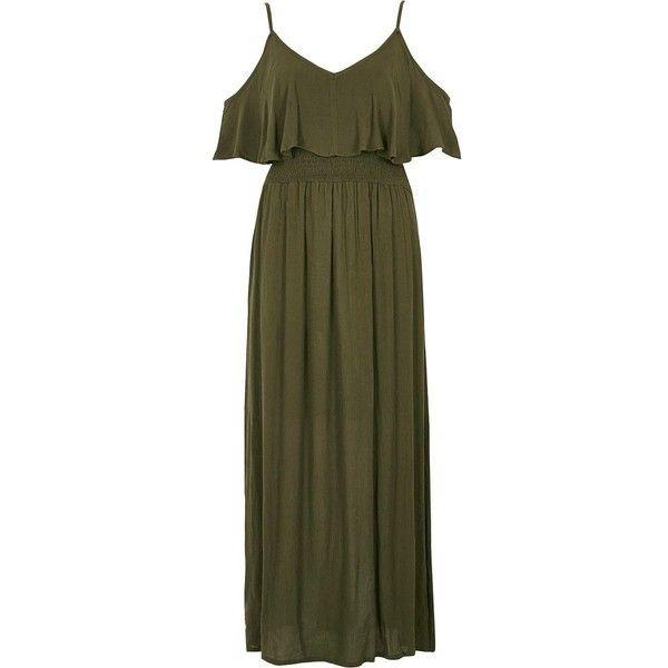River Island Khaki green double layer maxi dress ($64) ❤ liked on Polyvore featuring dresses, khaki, maxi dresses, women, green dress, green v neck dress, crepe maxi dress and layered dress