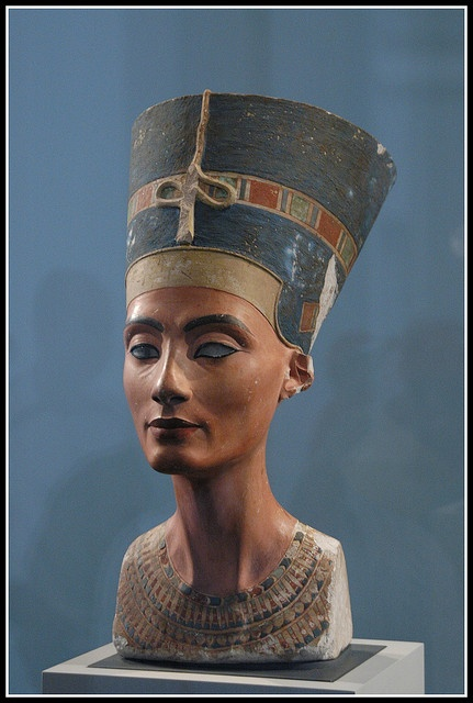 Ancient Egypt: A 3300-year-old painted limestone bust of Nefertiti, the Great Royal Wife of the Egyptian pharaoh Akhenaten, is one of the most copied works of ancient Egypt. As a result, Nefertiti has become one of the most famous women of the ancient world and an icon of female beauty. The bust is believed to have been crafted in 1345 BC by the sculptor Thutmose. Altes Museum, Berlin, Germany