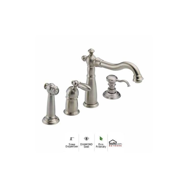 View the Delta 155-DST-SD Victorian Kitchen Faucet with Side Spray and Soap/Lotion Dispenser - Includes Lifetime Warranty at FaucetDirect.com.