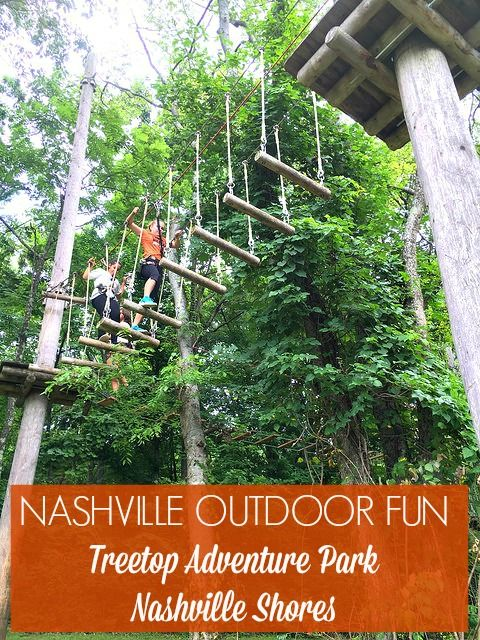 Family friendly utdoor activity ideas in Nashville, Tennessee - Fun treetop ropes course at Nashville Shores perfect for tweens and teens  #travel #familytravel #outdoors #adventure #fit #vacation #Nashville