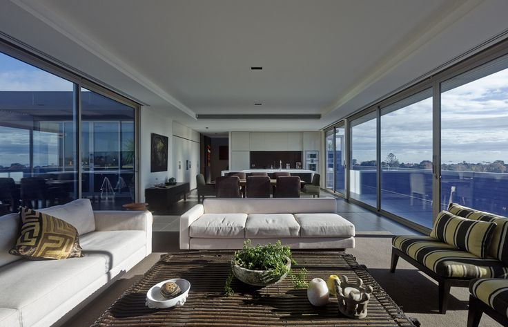 Duckbuild Architecture - Residential Interior - Open living/dining/kitchen - Brighton Penthouse  Photography - Peter Bennetts