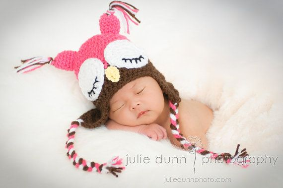 Sleepy Owl Hat Pink and Brown by TaeTaesCrochet on Etsy, $18.00