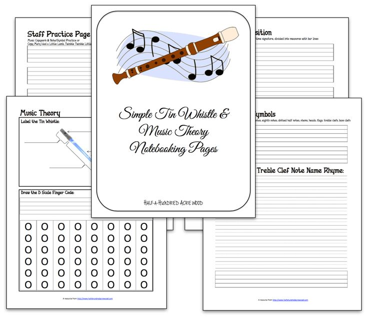 Notebooking pages for Tin Whistle and Basic Music Theory, for use with Classical Conversations CC Tin Whistle Weeks 7-12.