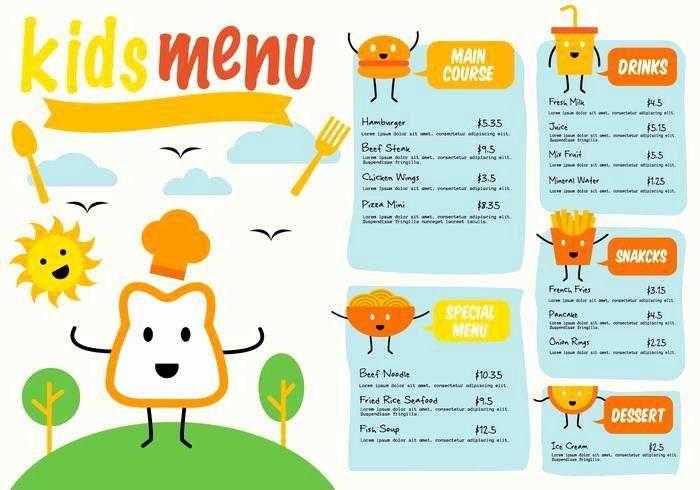 Luxury Free Kid Menu Template In 2020 Kids Menu Restaurant Menu