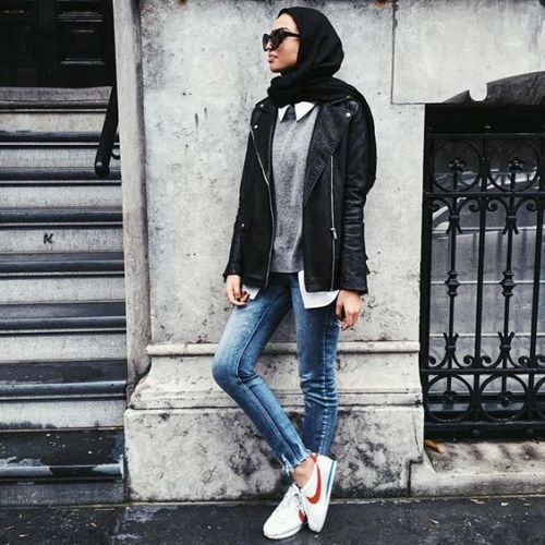 Leather jacket with hijab-Casual fall trends for hijab – Just Trendy Girls