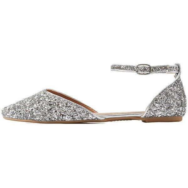 Charlotte Russe Silver Bamboo Glitter Pointed Toe D'Orsay Flats by... (£16) ❤ liked on Polyvore featuring shoes, flats, silver, strappy flats, silver pointy toe flats, silver glitter shoes, silver strappy shoes and silver flat shoes