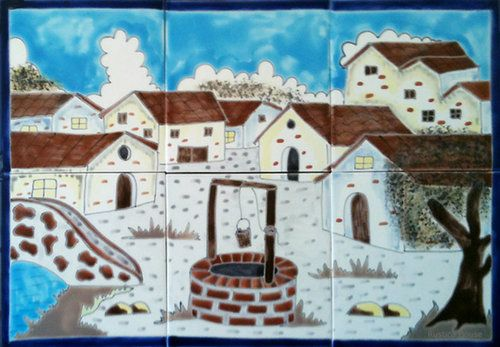 """A rustic tile mural looks pretty on a kitchen wall backsplash, bathroom wall or table-top. White Village mural sku 19130 is available in any dimensions. rustic tiles can be also installed in swimming pools, fountains and outside of the buildings. Handcrafted Tile Mural """"White Village"""" by Rustica House. #RusticaHouse"""