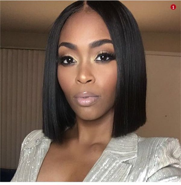 Online Buy Bob Lace Wigs Straight Black Human Hair Wig Blonde Wig For Black Women Pre Plucked Hairline Bleac Bob Hairstyles Curly Hair Styles Thick Hair Styles