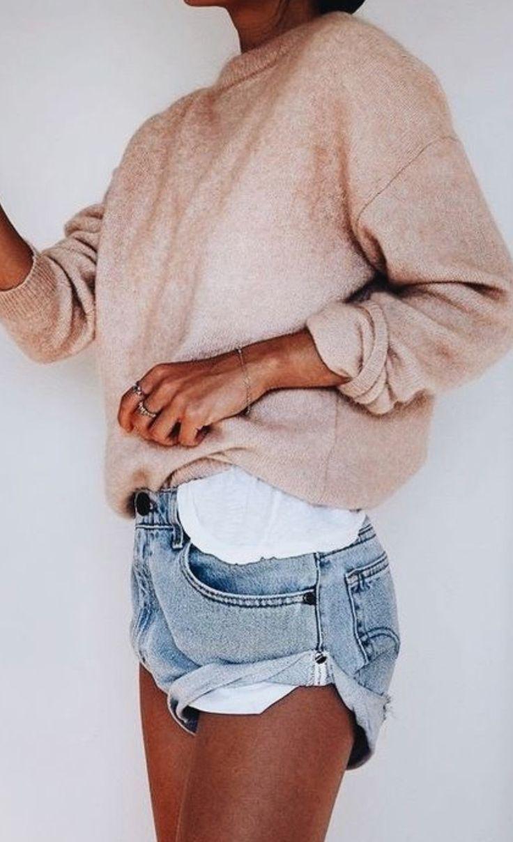 sweatshirt + denim shorts #style #casual