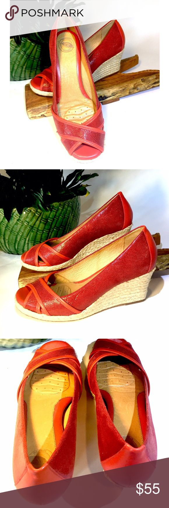 Nature red wedge shoe Never worn, Nature red foot formed wedge.  Nature is a Danish brand committed to making foot formed shoes with style.  The quality of Denmark craftsmanship is highly evident in these comfy/cute wedges.  Size 8 Nature Shoes Wedges