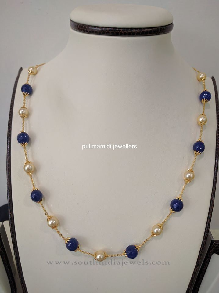 Indian Pearl Chain Necklace Desings, Indian Gold Pearl Chain Necklace Models.