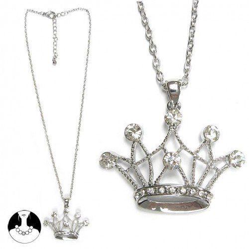 SG Paris Necklace 41cm+Ext Rhodium Crystal Transparent/Crystal Necklace Necklace Glass Winter Teenager Baby Doll Fashion Jewelry / Hair Accessories Crown SG Paris. $7.26