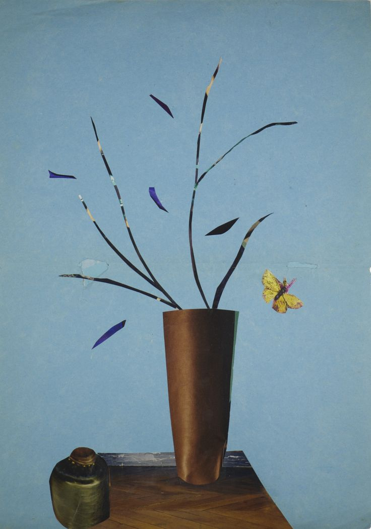 Anke Roder collage 'Butterfly and Vase' 2014