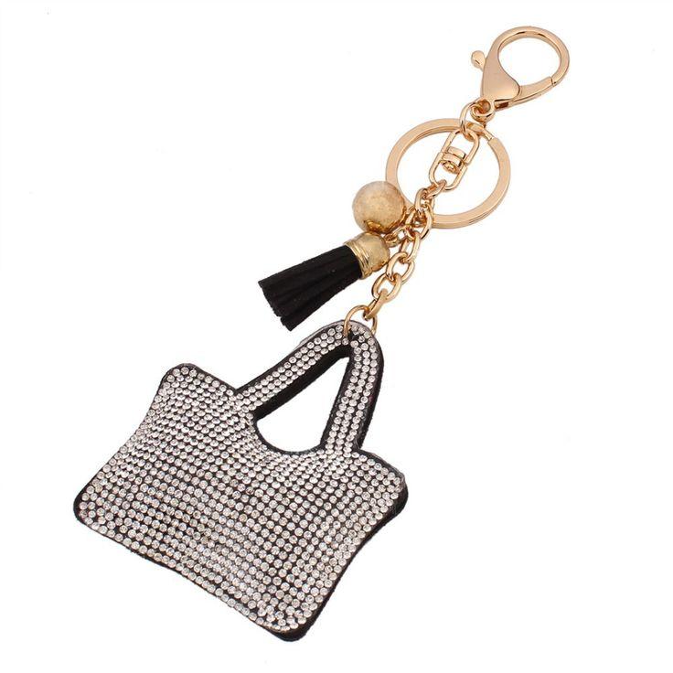 """Mode Petit Porte-clés En Cuir et Strass Style """" #Sac pour femmes""""Couleur #gris. Anneau en Acier Style Plaque Or 18K"""