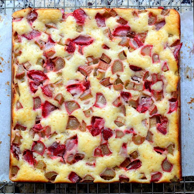 Rhubarb-Strawberry Cake with Orange Peel