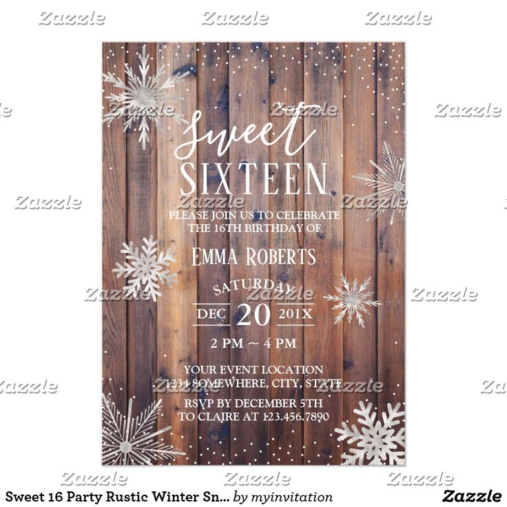 happy birthday invitation pictures%0A Sweet    Party Rustic Winter Snowflakes Barn Wood