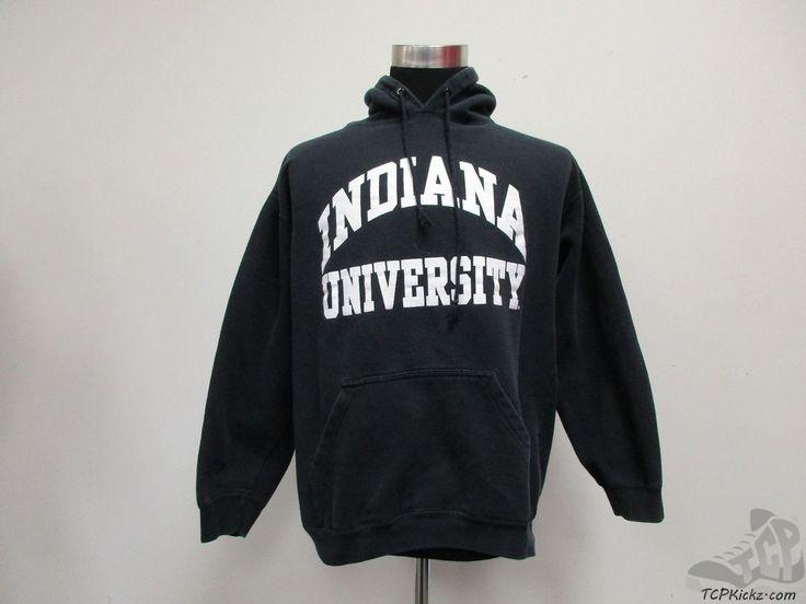 Alstyle Indiana Hoosiers Hoody Sweatshirt sz M Medium Black White IU University #Alstyle #IndianaHoosiers