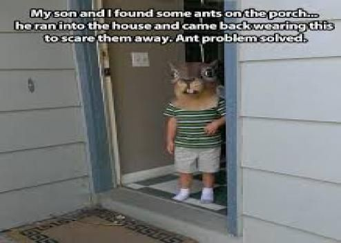 My son and i found some ants on the porch, he ran into the house and came back wearing this to scare them away.. Ant problem solved.: more funny pictures @ http://www.fartinvite.com/