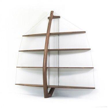 libreria in legno di noce e metallo Qucina - un piacere per i sensi