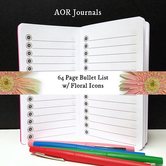 Midori Insert 64 page Bullet List w/ Floral Icons Insert for Travelers Notebook Covers 9 Travelers Notebook Sizes 40 Cover Colors by AORJournals from AOR Journals by Ann. Find it now at http://ift.tt/2vBJlb7!